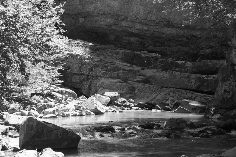 Rivière dans le Parc National d'Ordesa (N/B)