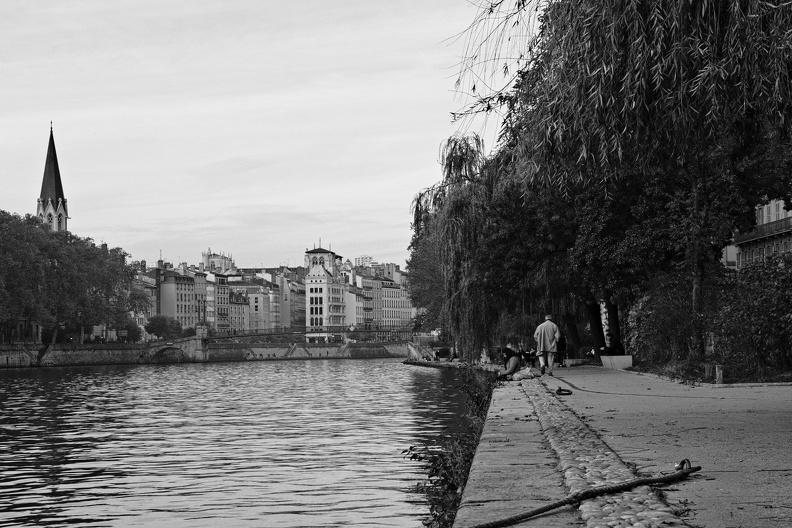 Quais de Saône à Lyon (N/B)