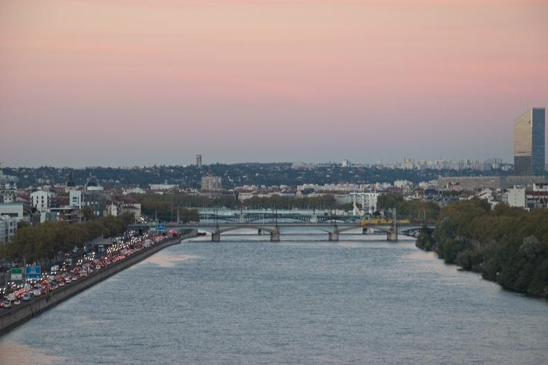 Le Rhône et Lyon depuis le musée des Confluences